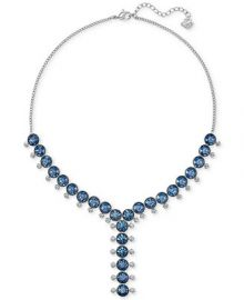 Swarovski Silver-Tone Blue and Clear Crystal Lariat Necklace at Macys