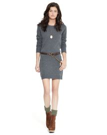Sweater dress with suede elbow patches at Ralph Lauren