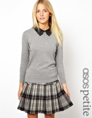 Sweater with Leather Look Collar at Asos