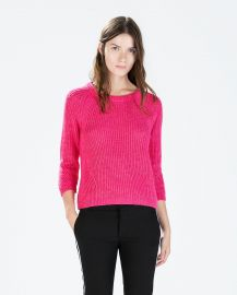 Sweater with three quarter sleeves at Zara