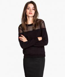 Sweatshirt with Mesh Yoke in Black at H&M