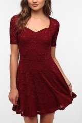Sweetheart Lace Dress by Pins and Needles in red at Urban Outfitters