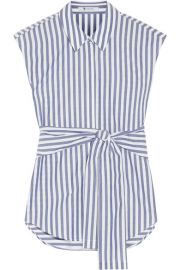 T BY ALEXANDER WANG Tie-front striped cotton-poplin shirt at Net A Porter