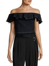 T by Alexander Wang - T by Cotton Burlap Off-The-Shoulder Cropped Top at Saks Fifth Avenue