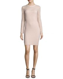 T by Alexander Wang Long-Sleeve Jacquard Eyelet Mini Dress at Neiman Marcus