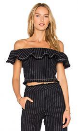 T by Alexander Wang Off Shoulder Crop Top in Navy  amp  White Stripe from Revolve com at Revolve