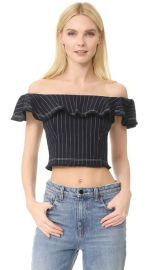 T by Alexander Wang Raw Edge Off Shoulder Crop Top at Shopbop