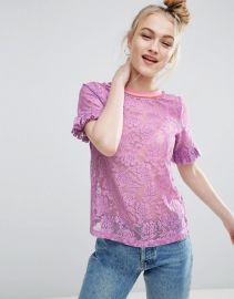 T-Shirt in Lace with Ruffle Sleeve and Stripe Tipping at Asos