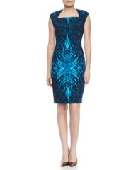 T Tahari Moxie Printed Cap-Sleeve Dress at Neiman Marcus