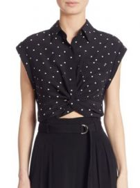 T by Alexander Wang - Knotted Cropped Silk Shirt at Saks Fifth Avenue