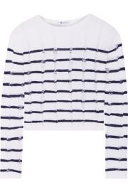 T by Alexander Wang   Striped open-knit merino wool sweater at Net A Porter