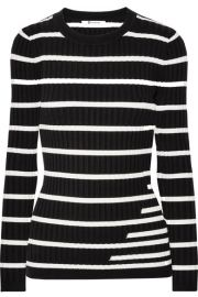 T by Alexander Wang   Striped ribbed stretch-knit sweater at Net A Porter