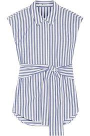 T by Alexander Wang   Tie-front striped cotton-poplin shirt at Net A Porter