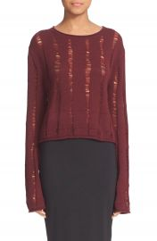 T by Alexander Wang Drop Needle Merino Jersey Crop Sweater at Nordstrom