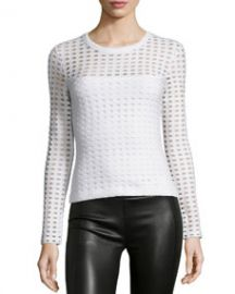 T by Alexander Wang Long-Sleeve Jacquard Eyelet Top White at Neiman Marcus