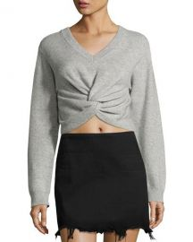 T by Alexander Wang Long-Sleeve Twist-Front Sweater  Gray at Neiman Marcus