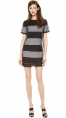 T by Alexander Wang Organza Overlay Striped Knit Tee Dress at Shopbop