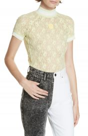 T by Alexander Wang Rib Trim Lace Top at Nordstrom