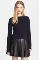 T by Alexander Wang Zip Shoulder Ribbed Sweater at Nordstrom