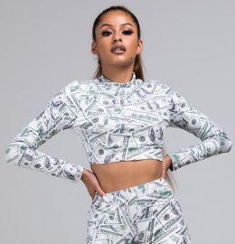 TAKE ME OUT MONEY PRINT CROP TOP at Shop Akira