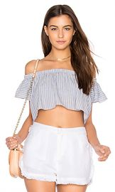 THE JETSET DIARIES Haven Crop Top in Chambray Stripe from Revolve com at Revolve