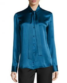 THE ROW Tipet Silk Tie-Neck Blouse  Marine Blue at Bergdorf Goodman