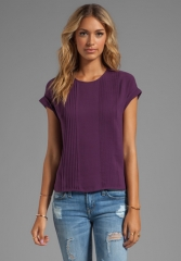 THEORY Sellida Silk Blouse in Elderberry at Revolve