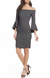 THML Off the Shoulder Sheath Dress at Nordstrom