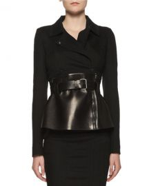 TOM FORD Belted Leather Peplum Wrap Jacket at Neiman Marcus