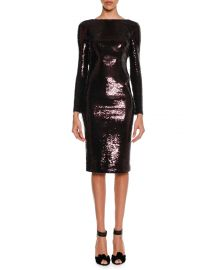 TOM FORD Sequined Zip-Trim Scoop-Back Long-Sleeve Dress at Neiman Marcus