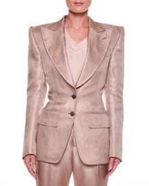 TOM FORD Metallic Twill Two-Button Jacket with Strong Shoulders at Neiman Marcus