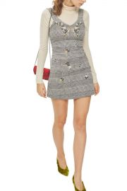 TOPSHOP   Embroidered Gingham Pinafore Dress   Nordstrom Rack at Nordstrom Rack