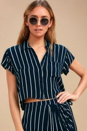 TROPICAL CRUSH NAVY BLUE STRIPED BUTTON-UP CROP TOP billabong at Lulus