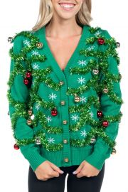 Tacky Christmas Sweater With Ornaments by Tipsy Elves at Amazon