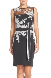 Tadashi Shoji Belted Embroidered Scuba Sheath Dress at Nordstrom