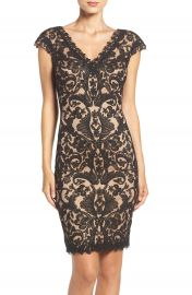 Tadashi Shoji Corded Lace Tulle Sheath Dress  Regular   Petite at Nordstrom