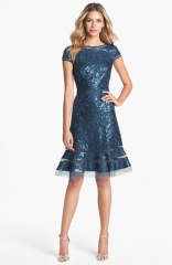 Tadashi Shoji Embellished Lace Fit andamp Flare Dress at Nordstrom