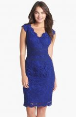 Tadashi Shoji Embroidered Lace Sheath Dress in Marine at Nordstrom
