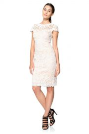 Tadashi Shoji Illusion Yoke Lace Sheath Dress white at Nordstrom