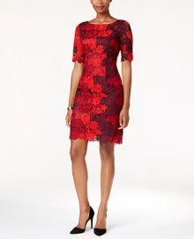 Tahari ASL Colorblocked Floral-Lace Sheath Dress at Macys