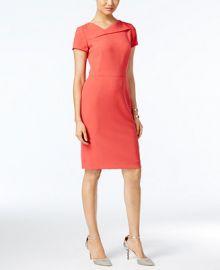 Tahari ASL Short-Sleeve Asymmetrical Sheath Dress at Macys