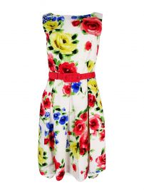 Tahari ASL Womens Floral Print Sleeveless Casual Dress at Amazon
