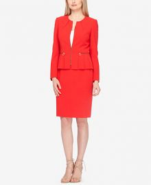 Tahari ASL Zip-Up Pleated Peplum Skirt Suit at Macys