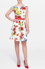 Tahari Floral Faille Fit   Flare Dress  Regular   Petite at Nordstrom