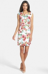 Tahari Print Jacquard Sheath Dress at Nordstrom