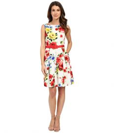 Tahari by ASL Belt Emilia - P Dress Ivory Scarlet Yellow at 6pm