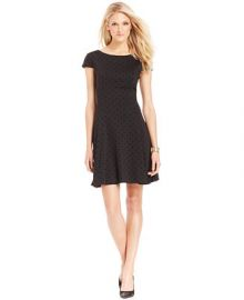 Tahari by ASL Burnout Polka Dot Fit and Flare Dress - Dresses - Women - Macys at Macys