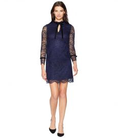 Tahari by ASL Long Sleeve Lace/Velvet Sheath with Keyhole/High Neckline at Zappos