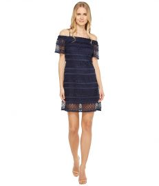Tahari by ASL Off Shoulder Lace Shift Dress at Zappos
