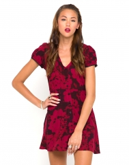 Tahnee Tea Dress in Floral Maroon at Motel